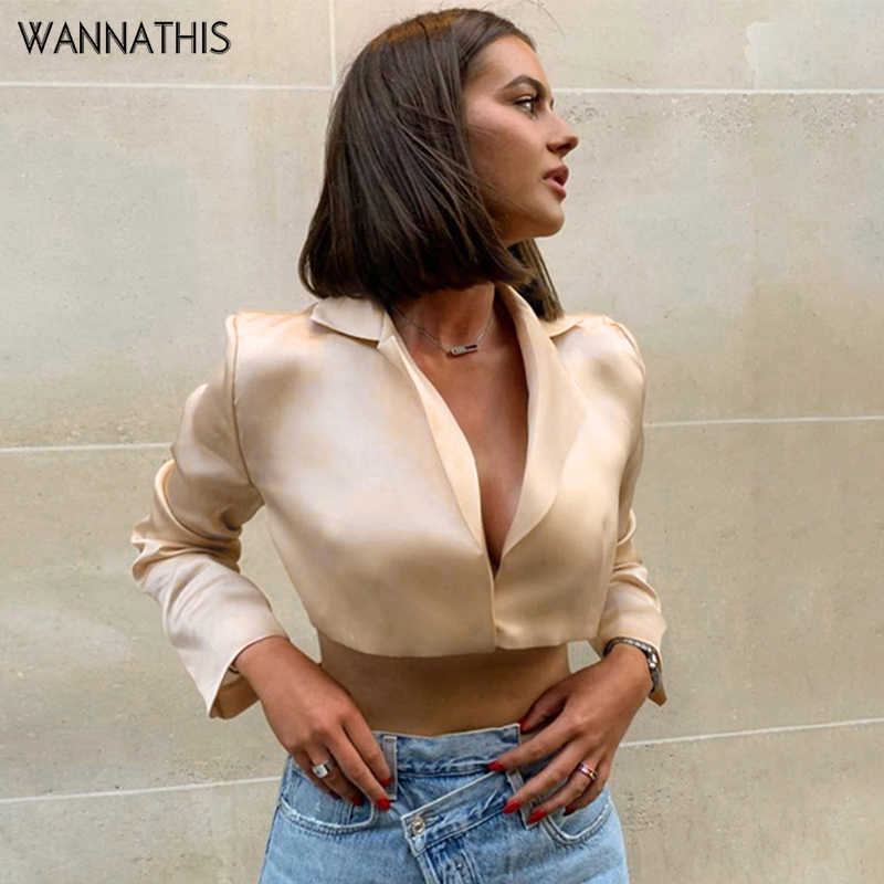 WannaThis Elegant Blouse Women Satin V-Neck Shirt Long Sleeve Fashion Sexy Autumn 2019 Crop Top Modern Silk Slim Blouse Apricot