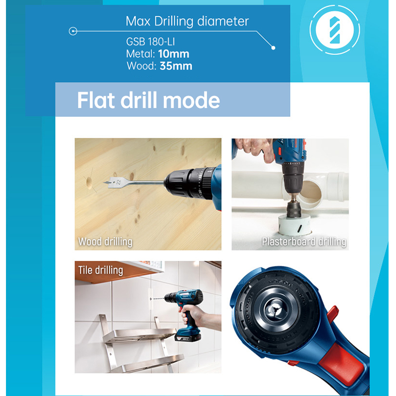 Tools : Bosch Cordless Electric Drill Driver 18V Max 50N m Impact Driver LED light Drill Combo Kit for Drilling Wood Metal and Plastic