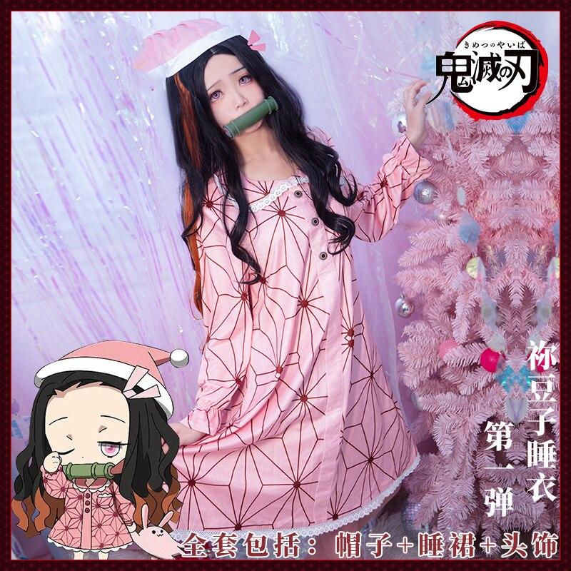 Anime Demon Slayer Kimetsu no Yaiba Kamado Nezuko Cosplay Nightdress Costume Women Christmas pajamas Sleepwear Suit Carnival