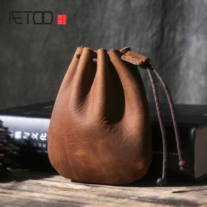 Original Handmade Crazy Horse Leather Small Unisex Coin Purse Cow Leather Coins Money Pocket Retro Wallet Drawstring Storage Bag(China)
