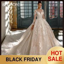 Роскошное Свадебное платье с длинными рукавами и аппликацией, BECHOYER N201, милое бальное платье с длинным шлейфом, платье для невесты принцессы, Vestido de Noiva