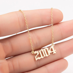 Stainless Steel 2002 2003 2004 2005 2006 Number Pendant Necklaces Women Femme Statement Necklace Year Number Jewlery Collier