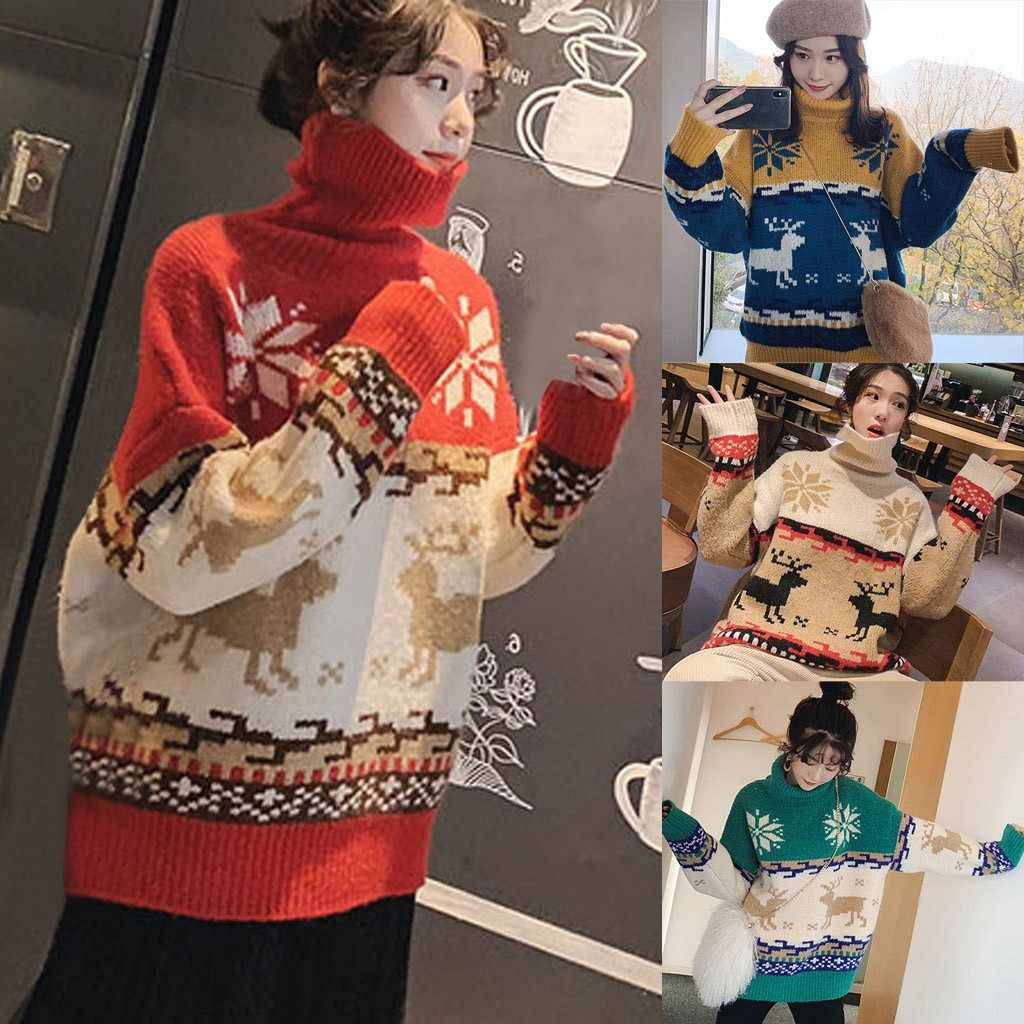 Hot sale sweater women O-Neck Long Sleeve Merry Christmas Elk Print Knit Sweater Pullover Top pull femme nouveaute 2019#guahao