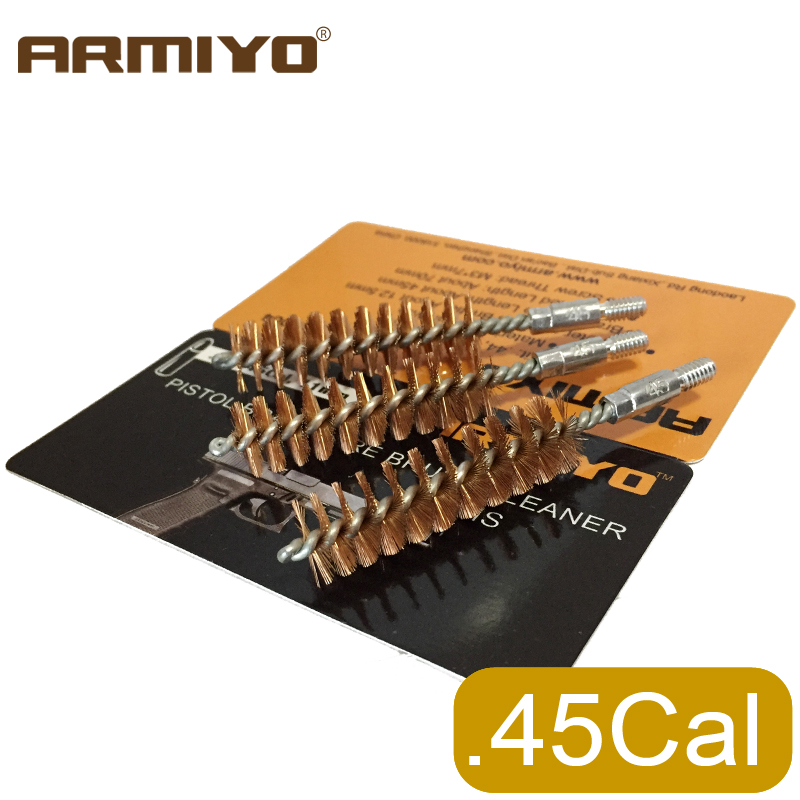 Armiyo .44Cal .45Cal 11.4mm Hunting Pistol Bore Barrel Cleaner Bronze Brush Hand Gun Shooting Cleaning Screw Thread Size 8-32