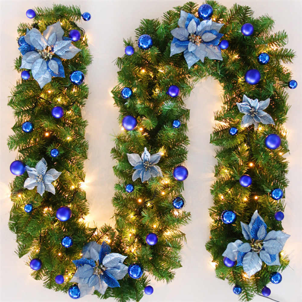 2.7 M Christmas LED Rattan Garland Decorative Green Christmas Garland Artificial Xmas Tree Rattan Banner Decoration