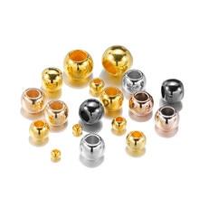 1 lote diâmetro 4 6 8 10 12mm grande buraco contas rosa ouro ródio cor espaçador contas para diy jóias fazendo ccb (não metal) acessórios