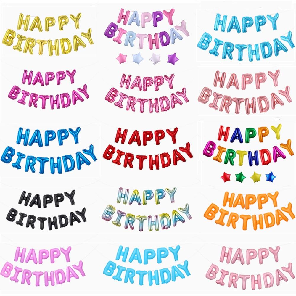 13 шт. Счастливые воздушные шары для украшения дня рождения розовое золото буквы фольга шарики для день рождения вечерние украшения Globos Balony ...