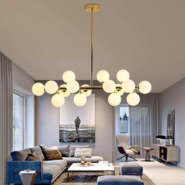 מודרני LED נברשות זכוכית השעיה lustres עבור סלון חדר אוכל חדר מטבח זהב/שחור תליון נברשות תאורה