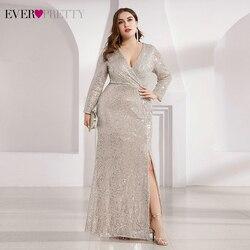 Grande taille robes de bal de luxe Ever Pretty EP00824 paillettes à manches longues col en v froncé côté fendu sirène robes de soirée Vestidos