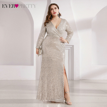 Plus Size Luxury Prom Dresses Ever Pretty EP00824 Sequined Long Sleeve V-Neck Ruched Side Split Mermaid Party Gowns Vestidos