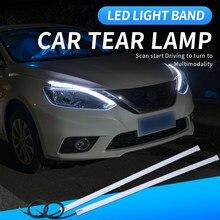 2pcs Led DRL Turn Signal Light Strip Flexible Waterproof Auto Headlight Surface Decorative Lamp Car Daytime Running lights 12v