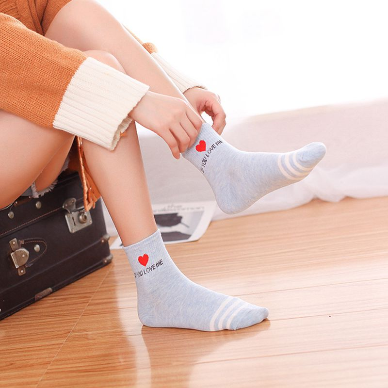 Женские милые модные хлопковые носки, маленькие, свежие, удобные, дышащие, пот, индивидуальность, с буквенным принтом, полосатые носки