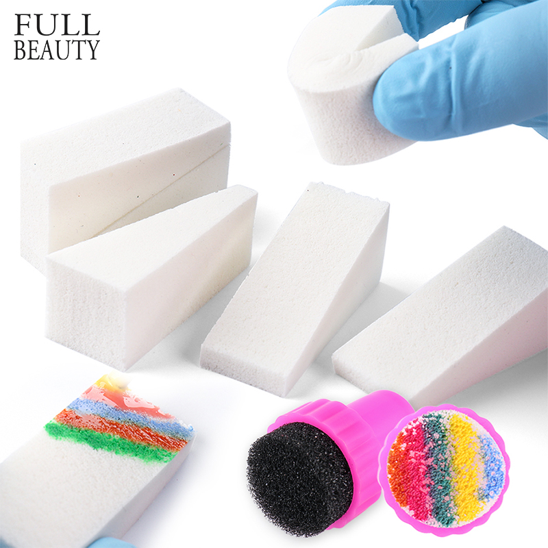White Triangle Sponges Nail Stamper Color Painting DIY Gradient Rainbow Designs Soft Stamper Nails Transfer Accessories CH1597