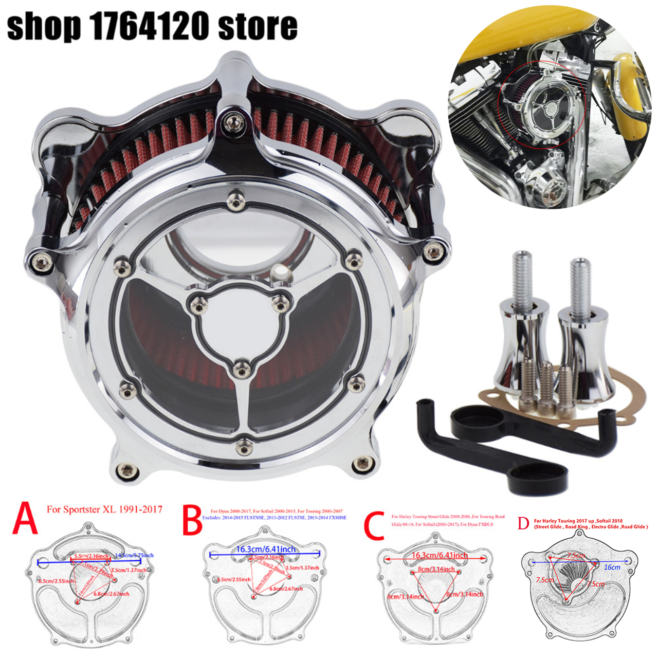 Motorcycle Clarity Air Filter Cleaner Intake Kit Chrome For Harley Sportster Dyna Touring Street Glide Softail 00-18