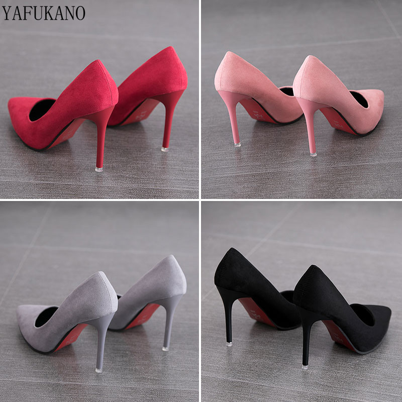 2019 Autumn New Simple Elegant High Heels Stiletto Womens Shoes Pointed Black Etiquette Professional Single Shoes Wedding Shoes