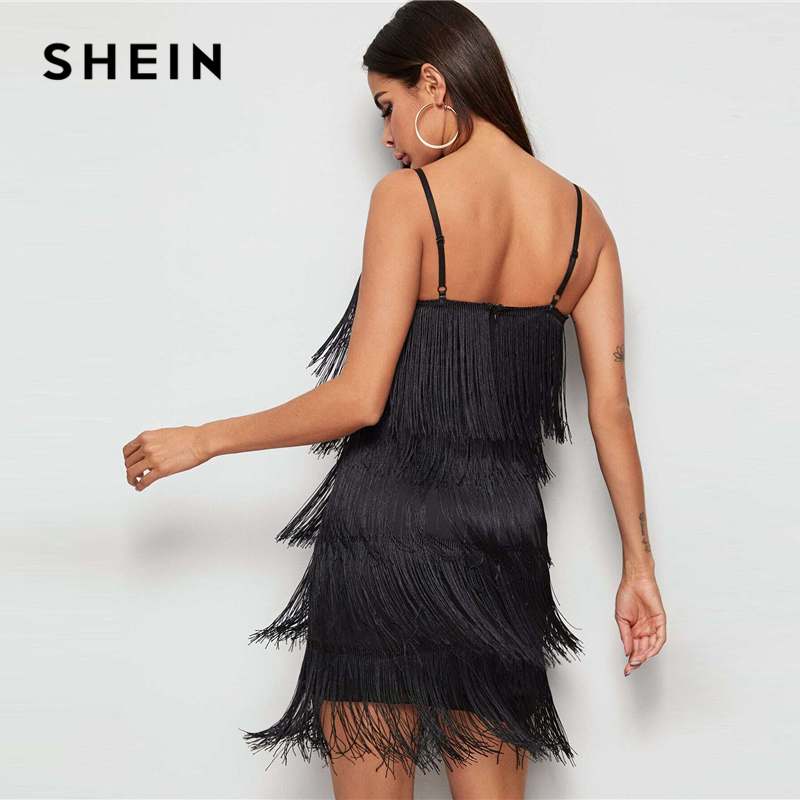 SHEIN Black Tiered Layer Fringe Glamorous Cami Dress Women 2020 Spring Sleeveless Solid Party Zipper Form Fitted Short Dresses 2