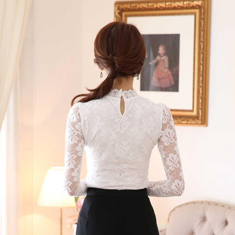 5XL белые черные кружевные блузы, рубашки женские модные с длинным рукавом милые вязаные крючком кружевные топы офисные женские работы основной гардероб блуза с бантом