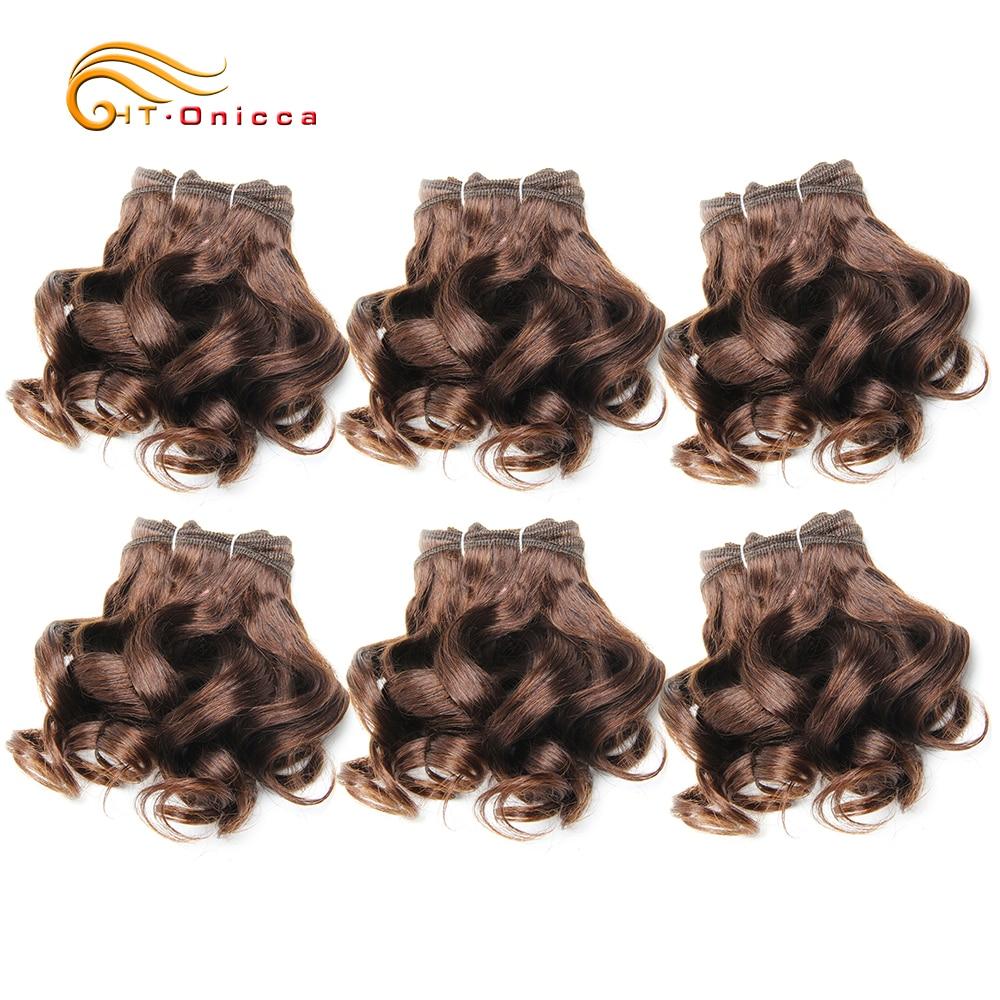 Curly Human Hair Bundles 100% Human Hair Bundles Brazilian Hair Weave Bundles 6 Pcs/Lot Color 1B/2/4/30/33/99J Curly Hair 5