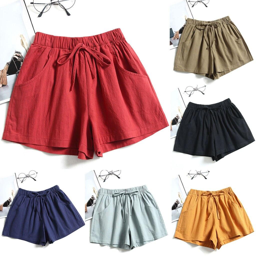 Sfondo verde non usato Nutrizione  2020 Summer Loose Shorts Drawstring Shorts Womens Comfy Solid Casual  Elastic Wai | eBay
