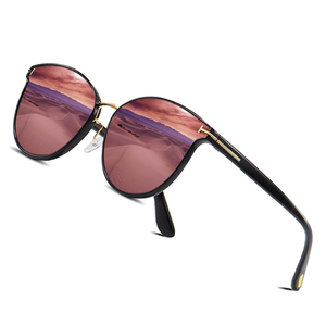 Image 1 - Мужские солнцезащ. Очки в круглой оправе AOFLY, черно золотистые солнцезащитные очки в круглой оправе с поляризованными линзами, пригодными для вождения, лето 2019