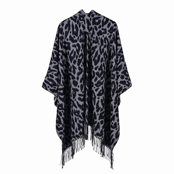 Luxury Brand Leopard Print Poncho Winter Cashmere Women Pomchos Scarf Ladies Knit Shawl Cape Cardigan Scarf Poncho Lady Pashmina [aetrends] winter poncho vintage lace design women s cape shawl cashmere feel scarfs for ladies z 6547