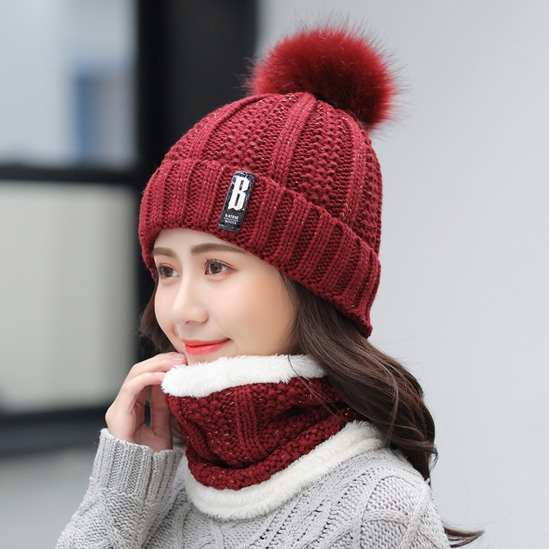 New Winter Hat Scarf Set For Ladies Girls Fashion Cotton Warm Pom Poms Hat + Scarf 8 Color Cute Women Hat Scarf Set