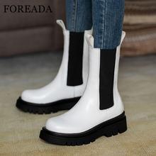 Женские ботинки челси из натуральной кожи на плоской платформе