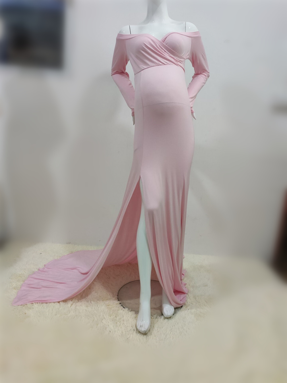 Sexy Shoulderless Maternity Dresses For Photo Shoot Maxi Gown Split Side Women Pregnant Photography Props Long Pregnancy Dress (12)