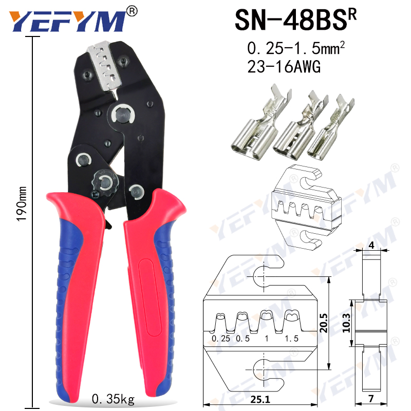 Electrician mini crimping pliers set for 2.8/4.8/6.3/VH3.96/tube/lnsulation/terminals, hand tool crimping pliers SN-48BS=48B+28B 2