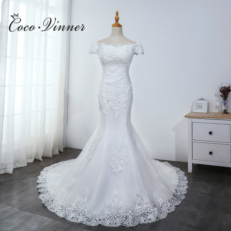 Off Shoulder Cap Sleeve Embroidery Mermaid Wedding Dress 2020 New Plus Size Wedding Gown Pure White African Bride Dress WX0041