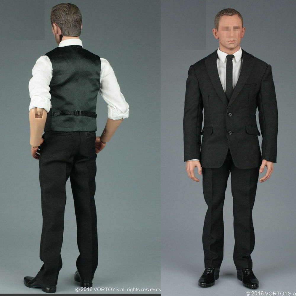 In stock 1/6 scale Male Clothing Black Gentleman Suit Clothing Set fit 12