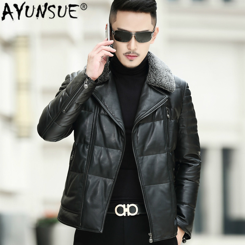 Leather Down Jacket Luxury Genuine Leather Coat Men Mens Motorcycle Sheepskin Winter Jacket Plus Size SE319JR LWL1075