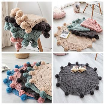 Knit Round Carpets For Baby Room Living Rugs Children Play Tent Floor Mat Cloakroom Photograph
