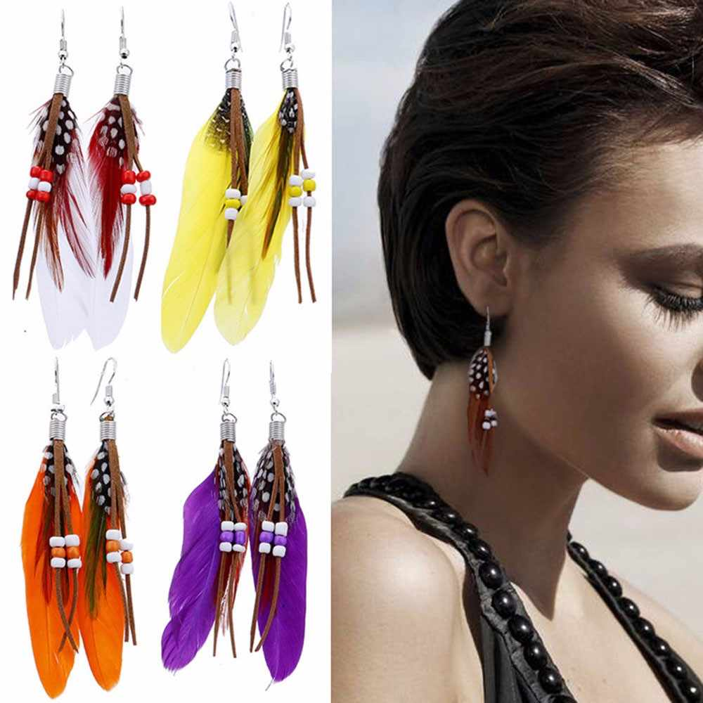 Women Bohemian Style Bead Tassel Feather Earrings Fashion Feather Chain Dangle Earring brincos aretes de mujer Accessories