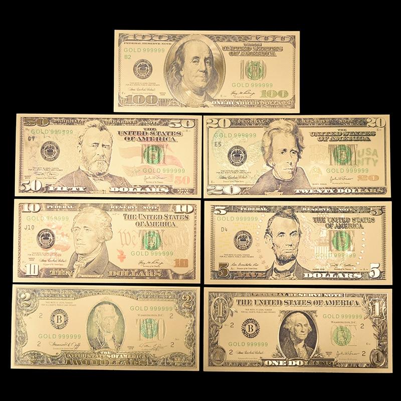 7 unids/lote de billetes de dólar, colección de billetes de papel para decoración del hogar, regalo, billete de hoja de oro estadounidense, billetes falsos de Estados Unidos