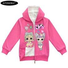 Aitonoble/Новинка года; зимнее пальто для девочек; хлопковые худи с мехом; внутренние толстовки для детей; куртка принцессы для девочек; пальто