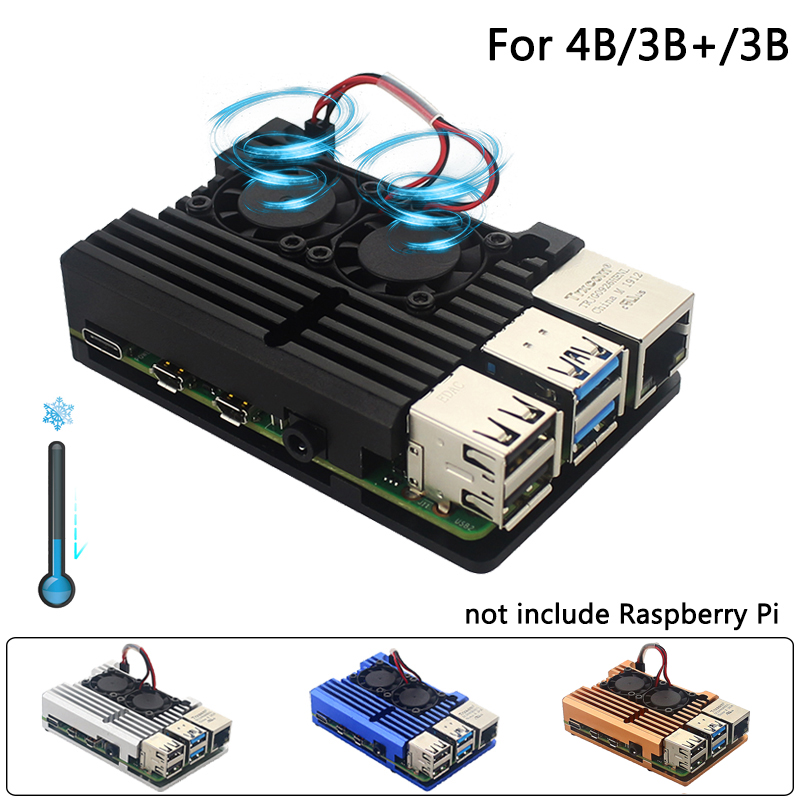Raspberry Pi 4 Model B Dual Fans CNC Aluminum Alloy Case Metal 4 Color Armor Shell with Heat Sinks for Raspberry Pi 4B 3B  3B