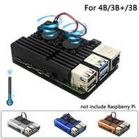 Raspberry Pi Modelo B Dual Fans CNC aluminio carcasa de aleación de Metal 4 Color armadura carcasa con disipadores de calor para Raspberry Pi 4B/3B +/3B