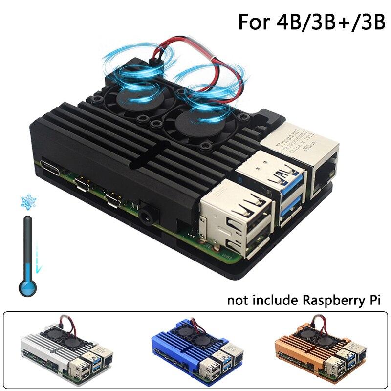 raspberry-pi-4-modele-b-double-ventilateurs-cnc-boitier-en-alliage-d'aluminium-metal-4-couleur-armure-coquille-avec-dissipateurs-de-chaleur-pour-framboise-pi-4b-3b-3b