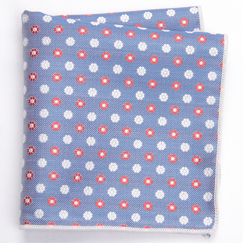 2019 Fashion  Blue Red Dot Patterned Pocket Square With Patterns Handkerchief