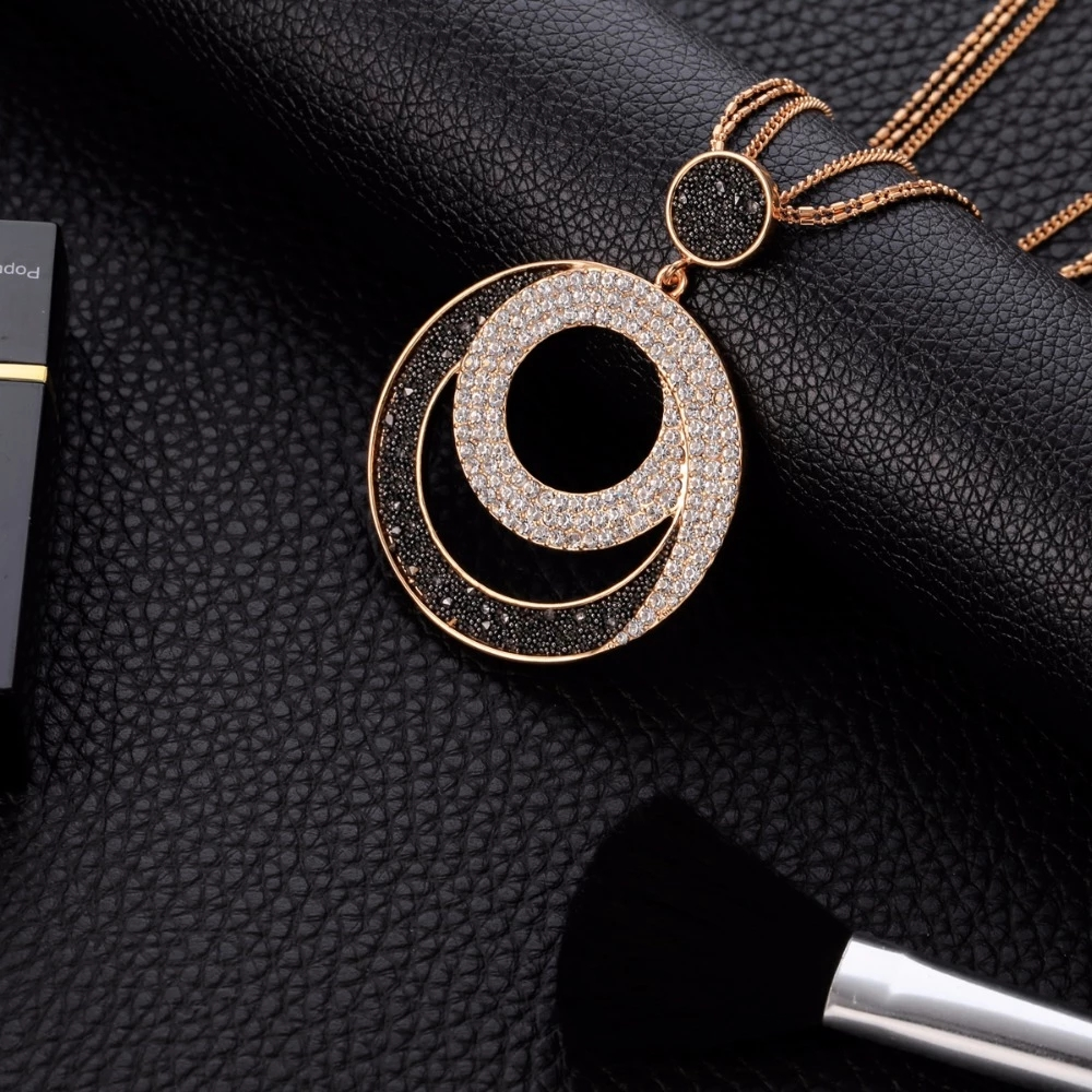 Trendy Vintage Crystal Big Circle Crystal Pendant Necklaces For Women Fashion Sweater Long Chain Pendant Female Jewelry Gift