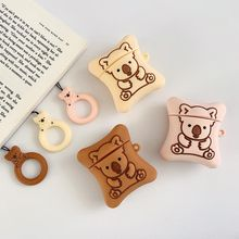 3D Cute Cartoon Bear Biscuits Silicone Earphone Case Cover Bluetooth Wireless Headphone Box For Airpods 1 2 with Ring Strap
