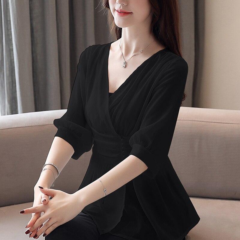 Korean Chiffon Blouses Women V-neck White Shirt Top Plus Size Woman Short Sleeve Solid Blouse Blusas Mujer De Moda 2020 Harajuku