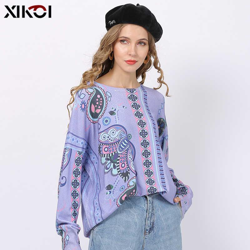 XIKOI 라벤더 퍼플 스웨터 여성용 겨울 로맨틱 플라워 프린트 풀오버 오버 사이즈 보헤미안 스타일 점퍼 탑스 풀 펨므
