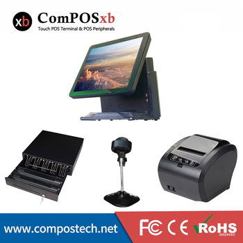 A whoe set POS system 15 inch capacitive touch screen POS terminal with 410 cash drawer 80mm printer and scanner