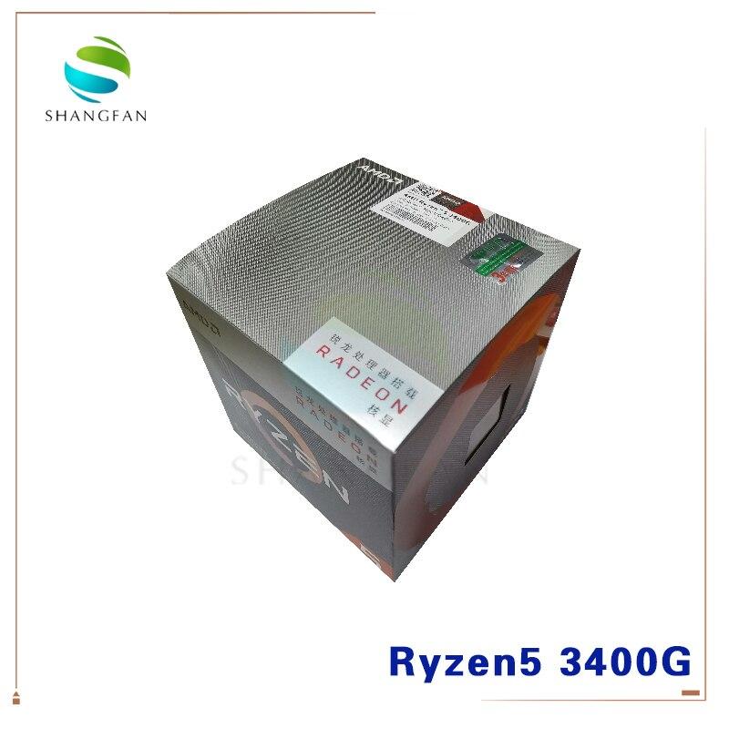 NEW AMD Ryzen 5 3400G R5 3400G 3.7 GHz Quad-Core Eight-Thread 65W CPU Processor YD3400C5M4MFH Socket AM4 With Cooler Cooling Fan