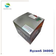 Novo amd ryzen 5 3400g r5 3400g 3.7 ghz quad core oito thread 65 w processador cpu yd3400c5m4mfh soquete am4 com ventilador de refrigeração mais frio