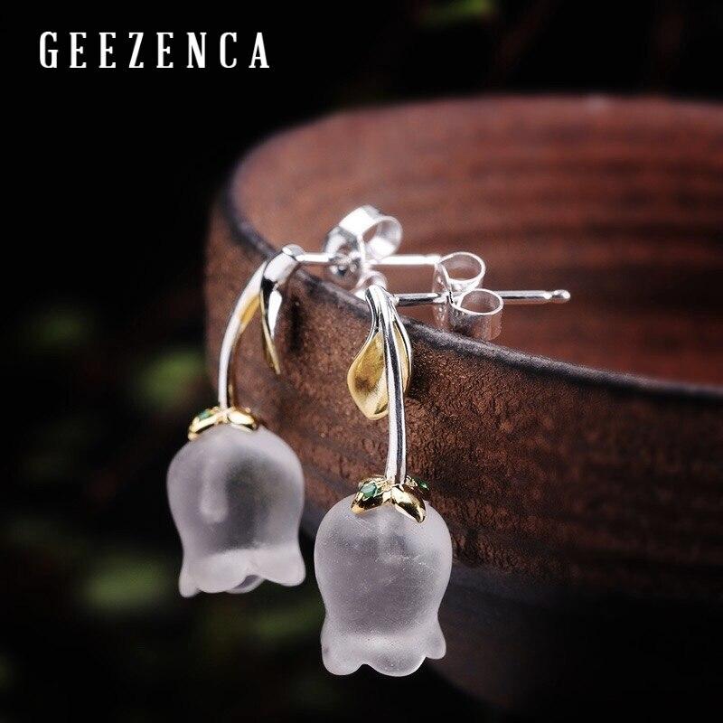 925 Sterling Silver White Crystal Tulip Flower Stud Earrings Fine Jewelry For Women Aestheticism Minimalism Vintage Earring