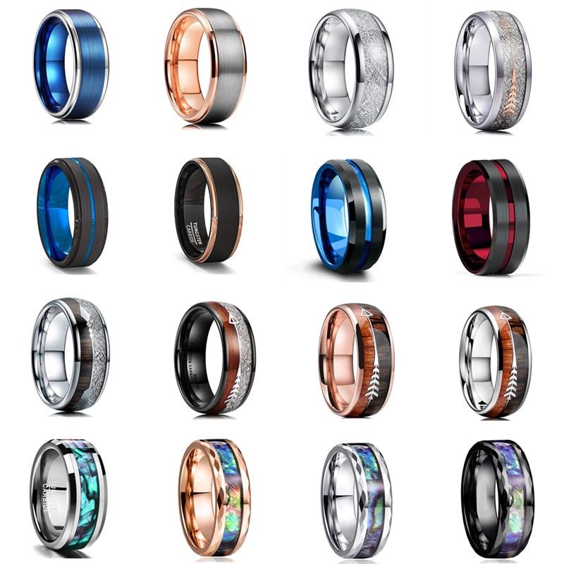 46 Style Men 8mm Tungsten Carbide Rings Black Brushed Koa Wood & Abalone Shell Inlay Meteorite Arrow Wedding Band Men's Jewelry