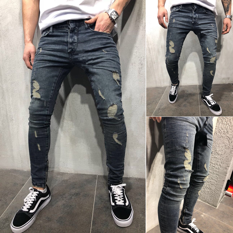 Goocheer Mens Ripped Jeans Stretchy Skinny Slim Fit Denim Pants Destroyed Frayed Moustache Effect Trousers Fashion Streetwear
